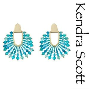 KENDRA SCOTT Teal Blue Agate Beaded Earrings NEW